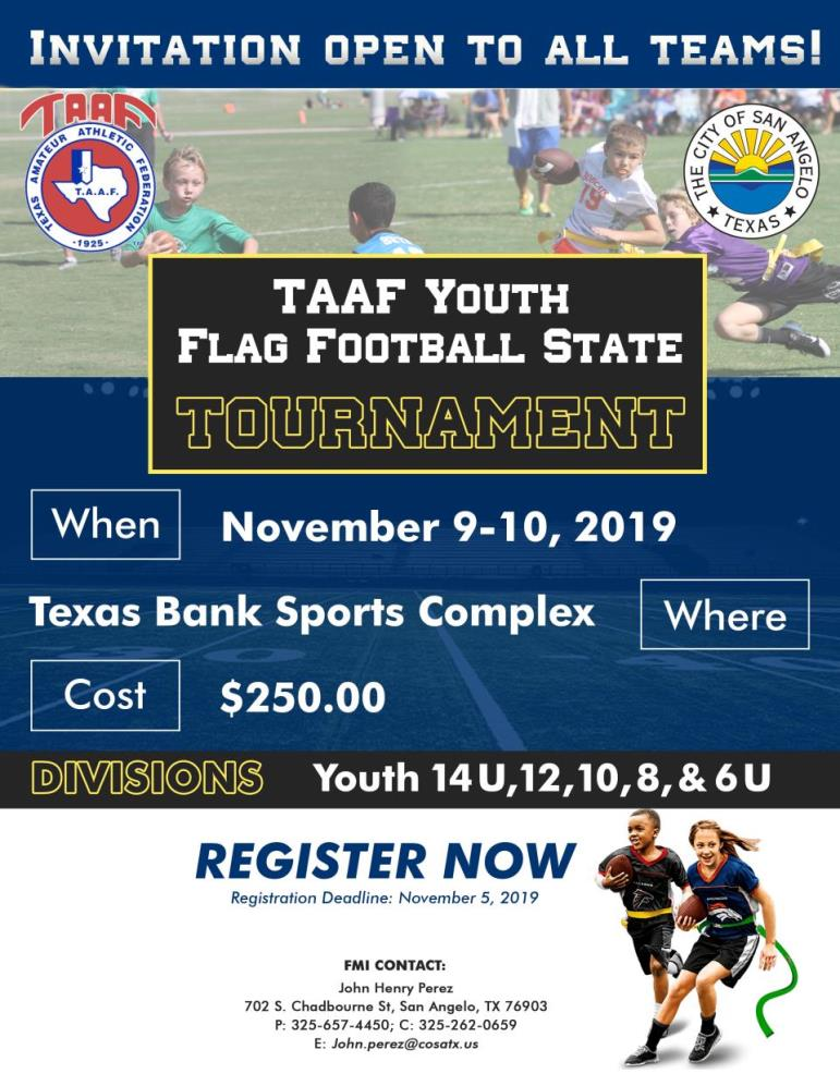 TAAF State Youth Flag Football.2019
